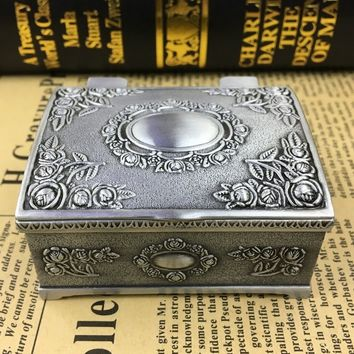 Antique Metallic Floral Engraved Rectangle Trinket Jewelry Box
