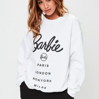 Missguided - Barbie x Missguided White Barbie City Printed Sweatshirt