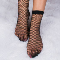 Black Fish Net Socks
