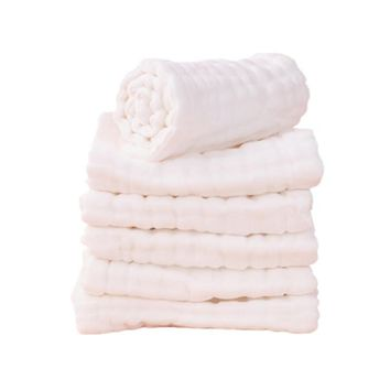 5 Peices / Lot 8 Layers White Burp Cloths 17x46cm 100% Muslin Cotton Seersckuer For Infant Children Feeding Bathing Face Washing
