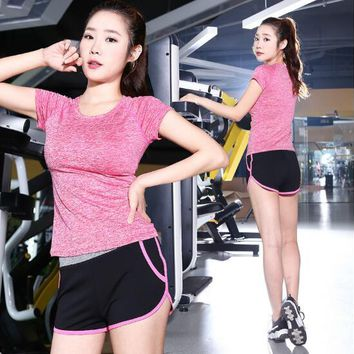 hot sale Women's Yoga sets sexy short sleeve T-shirts shorts two pieces dancing running execise  workout Tracksuits yoga suits