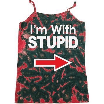 Buy Cool Shirts Ladies I'm With Stupid Tank Top White Print Tie Dye Camisole