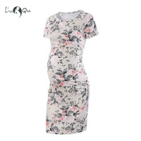 Maternity Dresses Floral Print Pregnancy Dress Elegant Premama Baby Shower Dress Knot Bodycon Dresses Short Sleeve Clothes