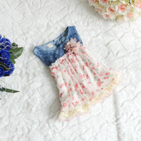 Girls Floral and Denim Spring Summer Dress
