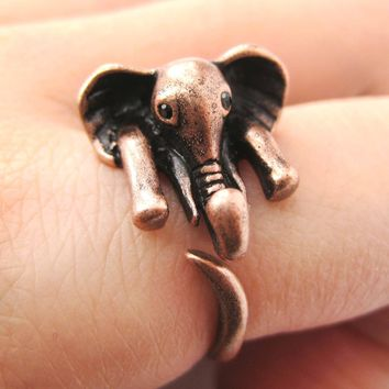 African Elephant Animal Wrap Around Ring in Copper - Sizes 6 to 10.5 Available