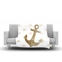 "Nika Martinez ""Glitter Anchor"" Gold Sparkles Fleece Throw Blanket"