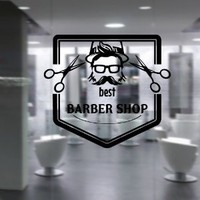 Wall Decal Vinyl Sticker Art Decor Hairdressing Hair Salon Style Beauty Barber Shop Cuts Beard Inscription Shaver Scissors Signboard Men (M1500)