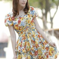 Chiffon Flowered Printed Layered Yellow Dress | paradise - Clothing on ArtFire