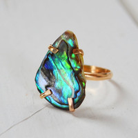 Coastal Sunset Ring- Abalone Shell Ring, Prong Set Gemstone Ring, One of a Kind Stone Ring, Boho Gold Ring