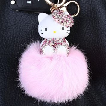 Cute Rhinestones Hello Kitty Fox Fur Pom Pom Keychain KT Fluffy Fur Pompons Key Ring Women Car Bag Charms Key Chains Porte Clef