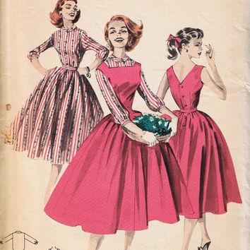 1950s Rockabilly Dress, Vintage Sewing Pattern, Butterick 8041, Uncut Factory Folded