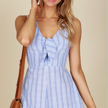 Striped Tie Romper Blue