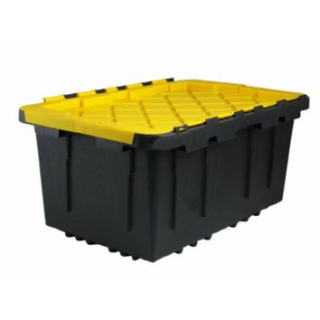 Shelves 206101 Black & Yellow Plastic Tote Tough Box with Flat Lid, 17 Gallon