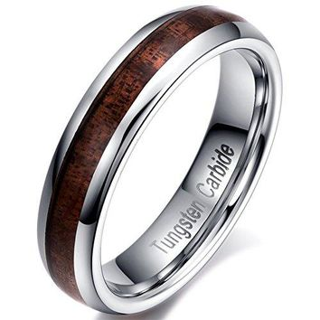 5mm Tungsten Carbide Vintage Wedding Ring Acacia Wood Inlay Engagement Promise Band Comfort Fit