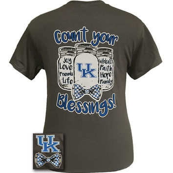 UK Kentucky Wildcats Big Blue Count Your Blessings Mason Jar Bow T Shirt