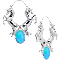 Blue Faux Opal Leaping Unicorns Tunnel Plug Earrings