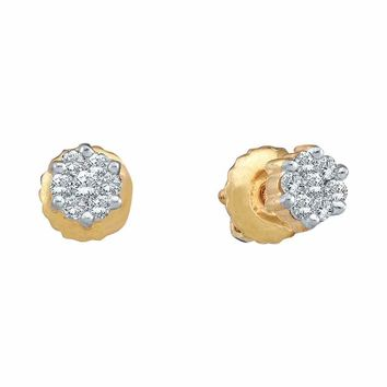 10k Yellow Gold Round Diamond Flower Cluster Women's Screwback Stud Earrings 1/6 Cttw