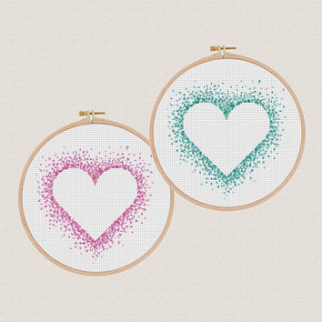 heart Cross stitch pattern watercolor cross stitch Love cross stitch Counted cross stitch modern  Colorful pattern DIY gifts