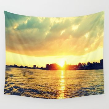 Sunset watEr :Houses Off the River Wall Tapestry by 2sweet4words Designs