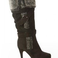 Twisted Women's Ava Knee High Zip Up Platform Stiletto Heel Zip Up Boots with Faux Fur Trim and Buckle Details Black 8.5