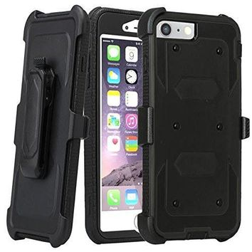 Apple iPhone 7 Plus Case / 6 Plus Case, Triple Protection 3-1 w/ Built in Screen Protector Heavy Duty Rotating Swivel Holster Shell Combo Case for iPhone 7Plus/6Plus - Black
