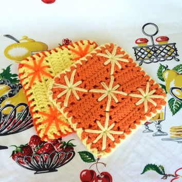 Retro Crocheted Potholders Orange and Yellow Hot Pads Handmade Vintage Kitchen