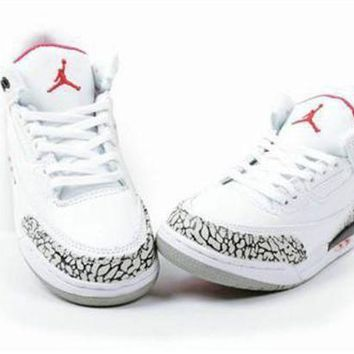 New Nike Air Jordan 3 Retro Kids Shoes White Grey Red