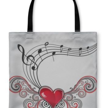 Tote Bag, Grunge Music Heart
