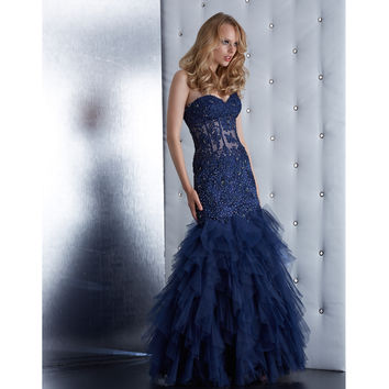 Navy Strapless Sequin Mermaid Gown