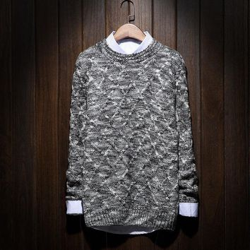 Hot Japanese Style Plus Size Colorful Thick Wool Knitwear Men's Sweater Argyle Pattern Slim Winter Pullover Free Shipping 2017