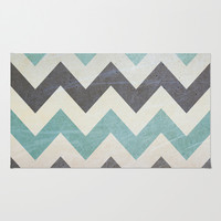 Chevron Pattern On Metal Texture Area & Throw Rug by Inspired By Fashion