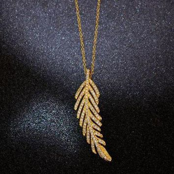 Kalete Tiffany Women Fashion Feather Plated Necklace Jewelry