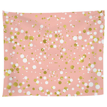 Gold and White Confetti Tapestry