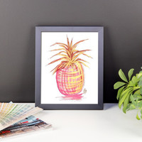 Pink Pineapple Framed Poster