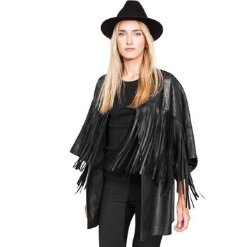 New womens long PU leather jackets and coats fashion fringe black hollow out jaqueta de couro feminina slim cardigans women