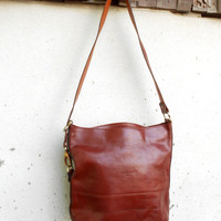 Vintage La Mégisserier Leather Tote Bag Shoulder Bag // Medium // Made in France