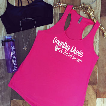 Country Music & Cold Beer Terry Racerback Tank Top * Cute *  Perfect for a Concert Tank