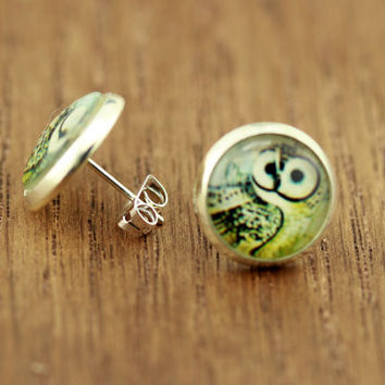 Fake Plugs : Owl Stud Earrings, Fake Plugs, Green and Yellow, Bohemian, Boho Chic by OAKWILDE on ETSY
