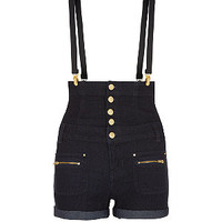 Teens Navy High Waisted Braces Shorts