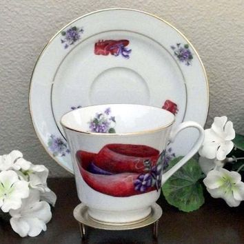 Catherine Porcelain Tea Cup and Saucer Set of 2 - Red Hat