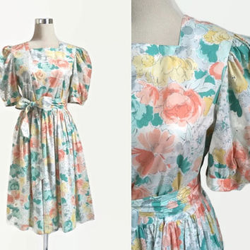 Vintage Laura Ashley Dress - 1980s 80s - Floral Dress - Afternoon Tea Dress