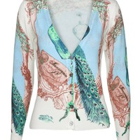 MapleClan Women's Printed Knit V Neck Button-Front Cardigan - 7001
