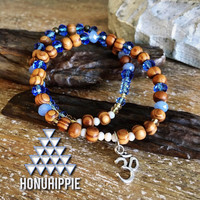 "Beaded ""om"" yoga bracelet, boho hippie jewelry"
