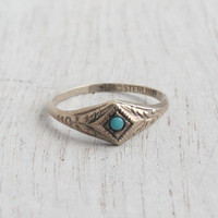 Vintage Sterling Silver Turquoise Blue Ring - Art Deco Size 3 3/4 Pinky Midi Uncas Jewelry / Dainty Embossed