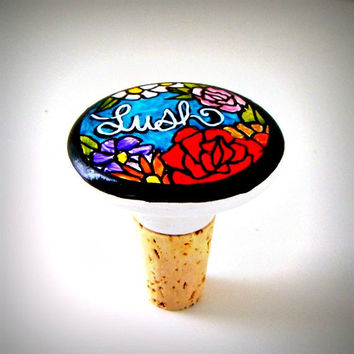 Ceramic Wine Stopper Lush Flowers Bottle Stopper Red Roses Turquoise Purple Black White Hand Painted Knob - READY TO SHIP