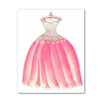 Princess dress art print, Pink and brown, Baby girl nursery, Princess room decor, Art for girls, Princess wall art, Girl Nursery decor