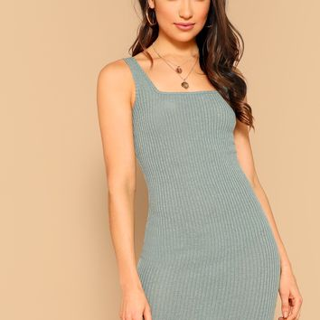 Solid Rib-knit Tank Bodycon Dress