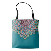 Pink, blue & purple abstract flower, tote bag