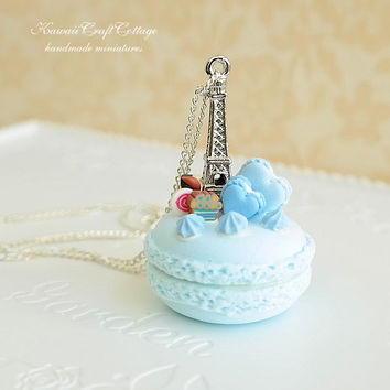 Miniature Macaron Clay Food Pendant Necklace Jewelry, Sweets Candy Dessert Fake Pastry Cake, Blue, Sweet, Love, Cute Kawaii Chic Gift