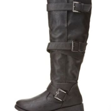 Bamboo Belt-Wrapped Knee-High Boots by Charlotte Russe